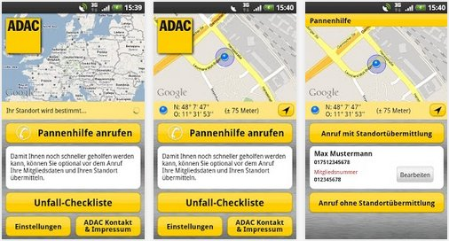 ADAC rufen Android