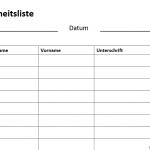 Gratis: Anwesenheitsliste Vorlage (Teilnehmerliste)