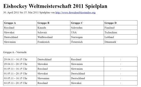 Eishockey WM 2011 Spielplan