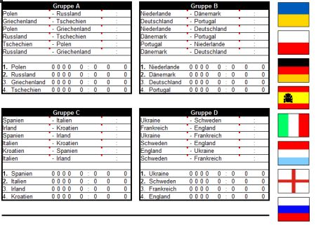Euro 2012 Excel Spielplan