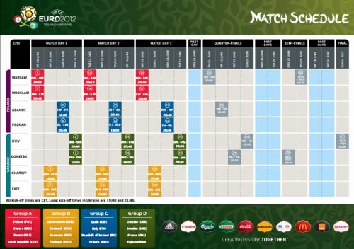 Der offizielle Spielplan der Fußball-Europameisterschaft 2012