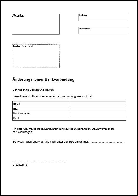 Anderung Bankverbindung Word Formularbox De