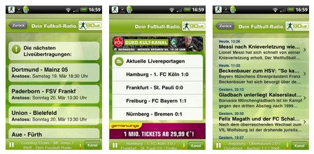Fußballergebnisse Radio Android App