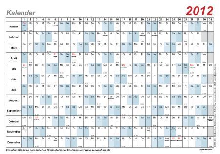 Kalender Vorlage 2012