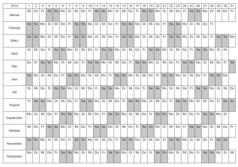 Kalendervorlage 2014