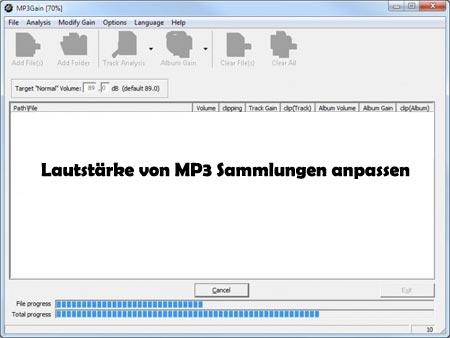 MP3 Lautstärke anpassen
