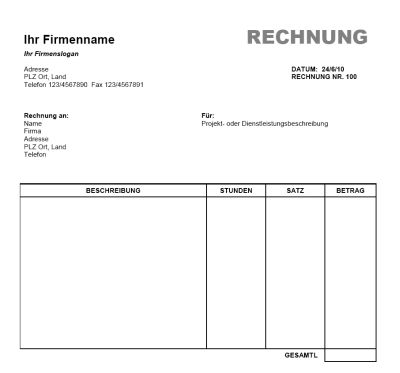 Rechnung Vorlage (Word, Office) – gratis Download
