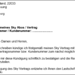 Sky kündigen Vorlage Kündigungsschreiben für Word
