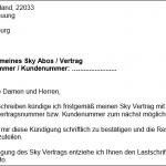 Sky kündigen – Abo Kündigungsschreiben für Word