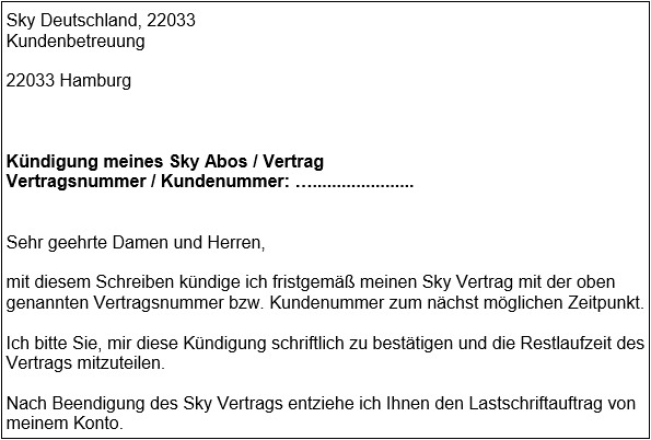 sky kndigen abo kndigungsschreiben fr word - Kundigungsschreiben Muster