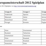 EM 2012 Spielplan kostenlos zum eintragen