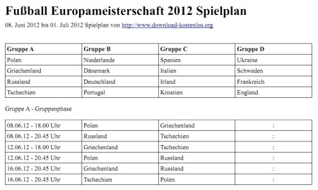 Spielplan für die Fußball EM 2012