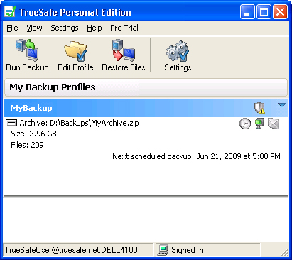 TrueSafe Backup Software