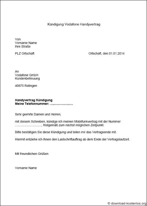 Handyvertrag Kundigung Pdf Vorlage Download Chip 3