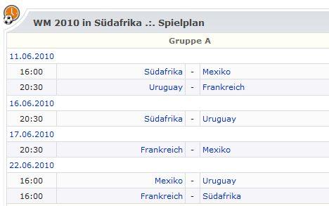 Weltmeisterschaft 2010 Spielplan